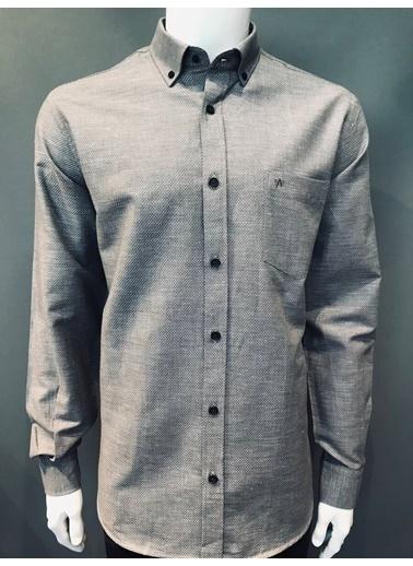 Abbate Baharlık Keten Görünümlü Regularfıt Casual Gömlek Füme